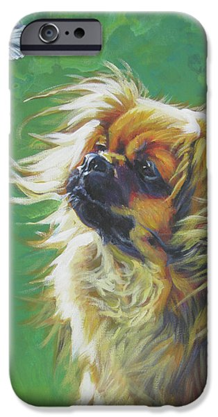 Tibetan Spaniel and cabbage white butterfly iPhone Case by Lee Ann Shepard