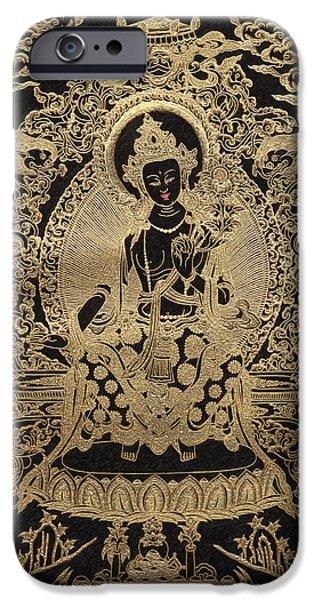 Tibetan Buddhism iPhone Cases - Tibetan Thangka  - Maitreya Buddha iPhone Case by Serge Averbukh
