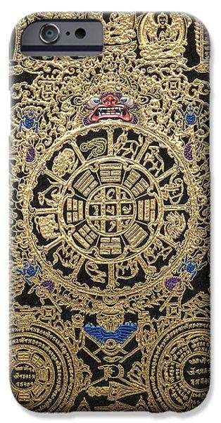 Tibetan Buddhism iPhone Cases - Tibetan Thangka - Tibetan Astrological Diagram iPhone Case by Serge Averbukh