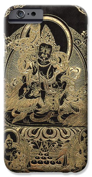 Tibetan Buddhism Digital iPhone Cases - Tibetan Thangka - Vaishravana - God of Wealth and Regent of the North iPhone Case by Serge Averbukh