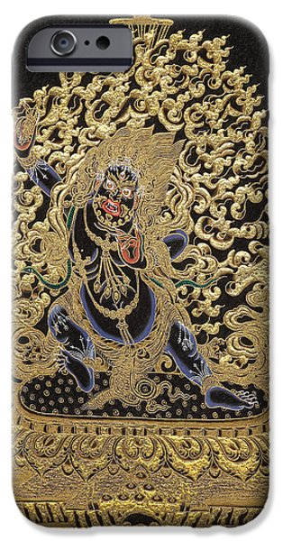 Tibetan Buddhism iPhone Cases - Tibetan Thangka - Vajrapani - Protector and Guide of Gautama Buddha iPhone Case by Serge Averbukh