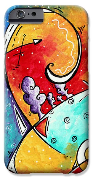 Aqua iPhone Cases - Tickle My Fancy Original Whimsical Painting iPhone Case by Megan Duncanson