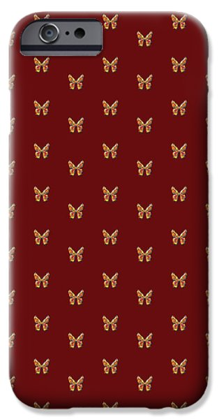 Insects Tapestries - Textiles iPhone Cases - Tiddlyflymaroonbutterfly iPhone Case by Deborah Runham