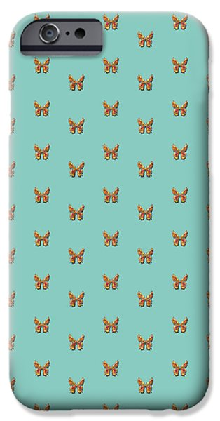 Insects Tapestries - Textiles iPhone Cases - Tiddlyflyturqbutterfly iPhone Case by Deborah Runham