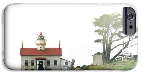 Historic Buildings iPhone Cases - Tides of Battery Point Lighthouse - Northern CA iPhone Case by Christine Till
