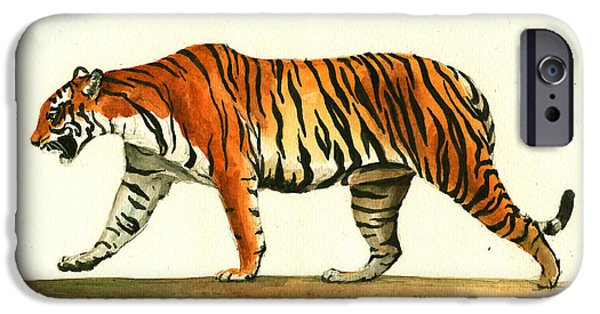 Tiger Art iPhone Cases - Tiger animal  iPhone Case by Juan Bosco