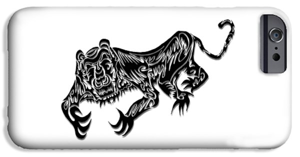 Abstract Digital Drawings iPhone Cases - Tiger iPhone Case by AR Teeter