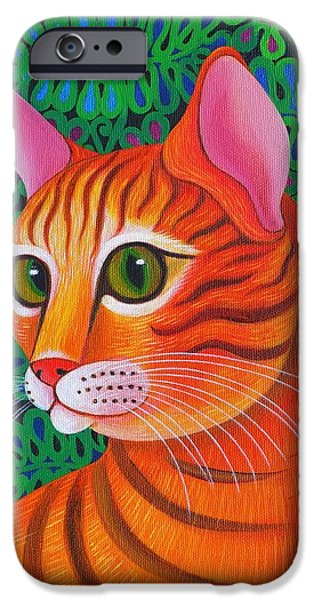 Orange Tabby Paintings iPhone Cases - Tiger Cat iPhone Case by Jane Tattersfield
