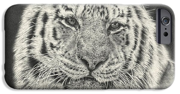 Large Mammals iPhone Cases - Tiger Drawing iPhone Case by Heidi Vormer