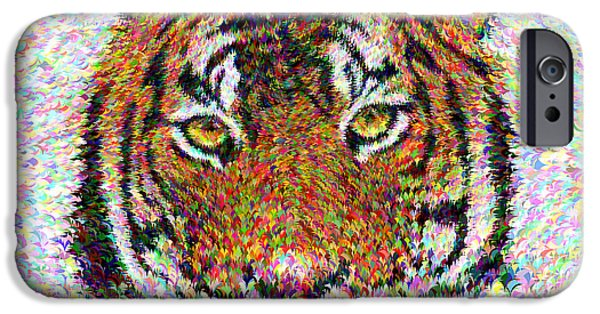 Animals Digital Art iPhone Cases - Tiger head iPhone Case by David Zydd