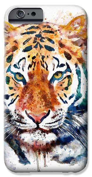 Marian iPhone Cases - Tiger Head watercolor iPhone Case by Marian Voicu