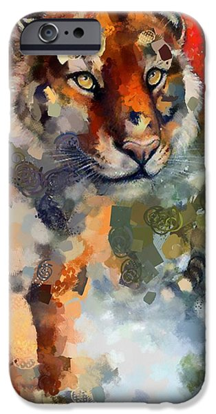 The Tiger iPhone Cases - Tiger Hotty Totty Style iPhone Case by Catherine Lott