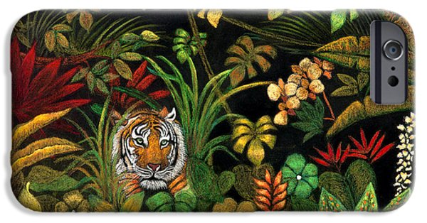 The Tiger iPhone Cases - Tiger in the Forest iPhone Case by Kabira Lyon