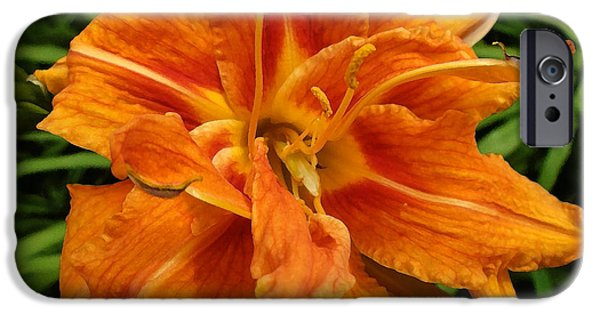 Floral Digital Art Digital Art iPhone Cases - Tiger Lily 2 iPhone Case by Richard Andrews
