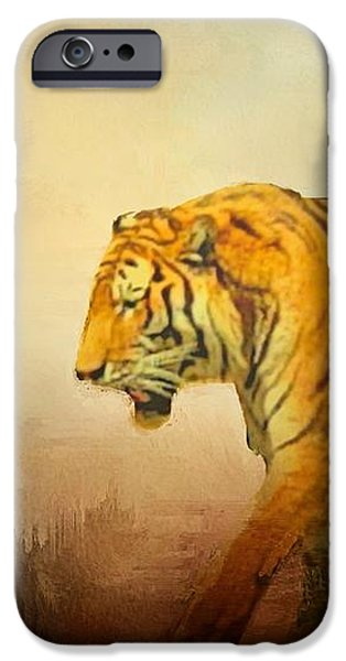 Stripes iPhone Cases - Tiger on the Prowl iPhone Case by Janette Boyd