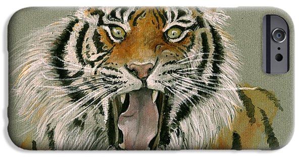 Tiger Art iPhone Cases - Tiger portrait iPhone Case by Juan Bosco