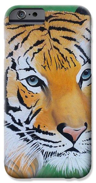 Wild Animals Pastels iPhone Cases - Tigress iPhone Case by Maria Davis