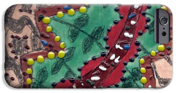 Ceramic Mixed Media iPhone Cases - Tile 4 iPhone Case by  Karen Silverman