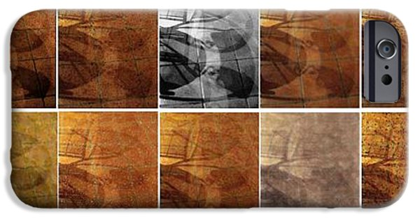 Abstract Digital Art iPhone Cases - Tiled Tile Shadows iPhone Case by Ron Bissett