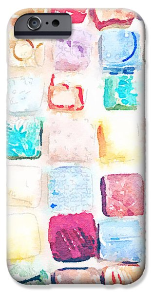 Square Ceramics iPhone Cases - Tiles Waterlogued iPhone Case by Evelyn Taylor Designs