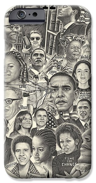 Recently Sold -  - Michelle Obama Drawings iPhone Cases - Time For Change iPhone Case by Omoro Rahim