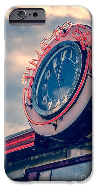 Quechee iPhone Cases - Time To Eat Neon Diner Clock iPhone Case by Edward Fielding