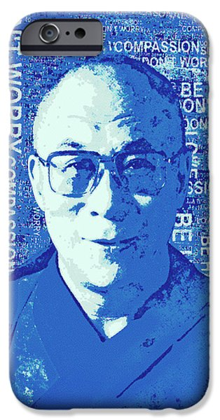 Tibetan Buddhism Mixed Media iPhone Cases - Timeless Wisdom - Retro Art in Blue iPhone Case by Stacey Chiew