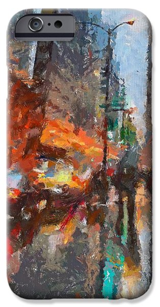 Rainy Day iPhone Cases - Times Square iPhone Case by Dragica  Micki Fortuna