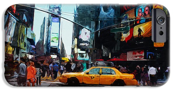Manhattan Mixed Media iPhone Cases - Times Square Taxi- Art by Linda Woods iPhone Case by Linda Woods