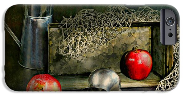 Still Life With Fish iPhone Cases - Tin Apples iPhone Case by Diana Angstadt