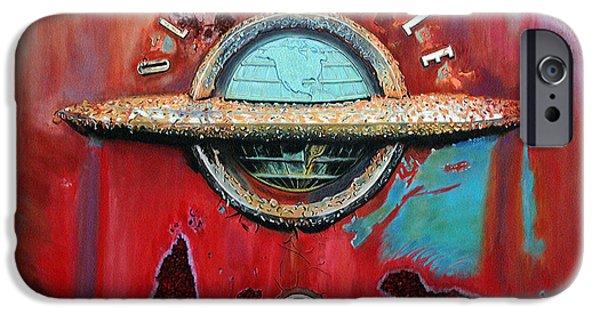 Vintage Car Pastels iPhone Cases - Tired Oldsmobile iPhone Case by Martha Beller