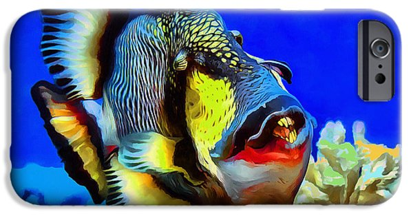 Triggerfish Paintings iPhone Cases - Titan triggerfish iPhone Case by Sergey Lukashin