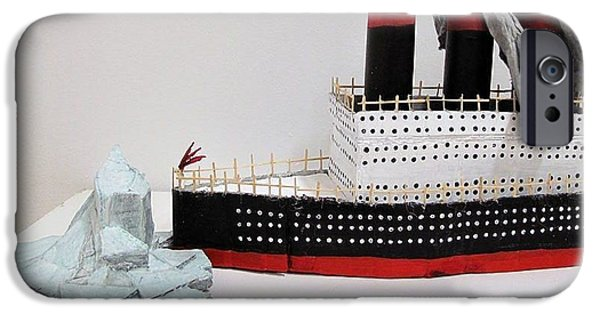 Boat Sculptures iPhone Cases - Titanic and iceberg iPhone Case by William Douglas