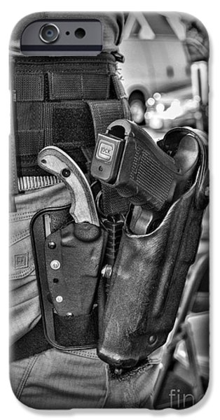 Law Enforcement iPhone Cases - To Protect and Serve in Black and White  iPhone Case by Paul Ward