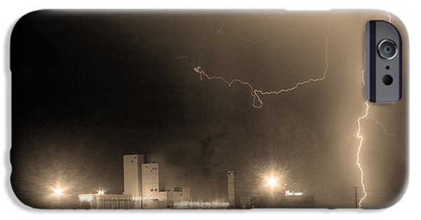 Lightning Images iPhone Cases - To The Right Budweiser Lightning Strike Sepia  iPhone Case by James BO  Insogna