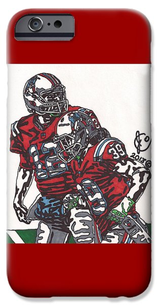 Patriots iPhone Cases - Tom Brady and Danny Woodhead iPhone Case by Jeremiah Colley