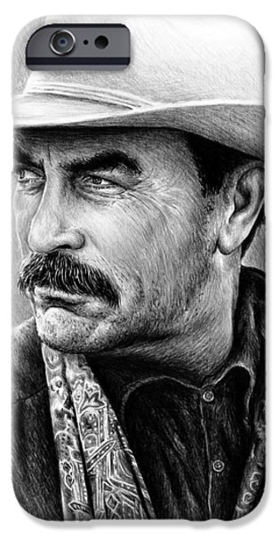 Americana Drawings iPhone Cases - Tom Selleck as Monty Walsh iPhone Case by Andrew Read