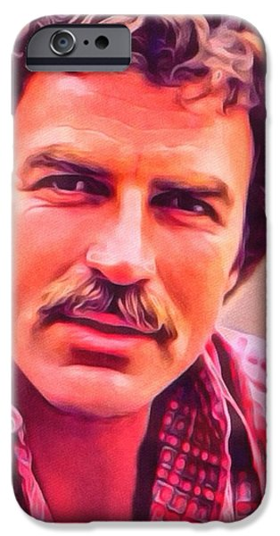 Police iPhone Cases - Tom Selleck Portrait iPhone Case by Scott Wallace