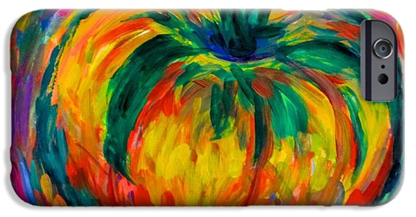 Abstract Expressionist iPhone Cases - Tomato Spin iPhone Case by Kendall Kessler