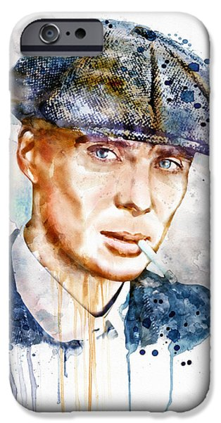 Watercolour Portrait iPhone Cases - Tommy Shelby watercolor iPhone Case by Marian Voicu