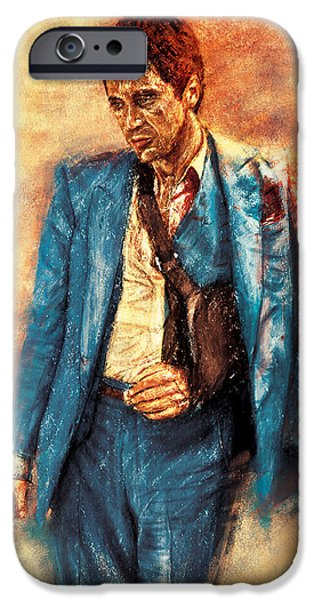 Scarface Digital Art iPhone Cases - TONY MONTANA aka AL Pacino Painting iPhone Case by Vivek Mandrekar