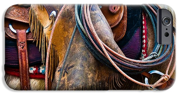 True Grit iPhone Cases - Tools of the Trade - Cowboy Saddle Closeup - Casper Wyoming iPhone Case by Diane Mintle