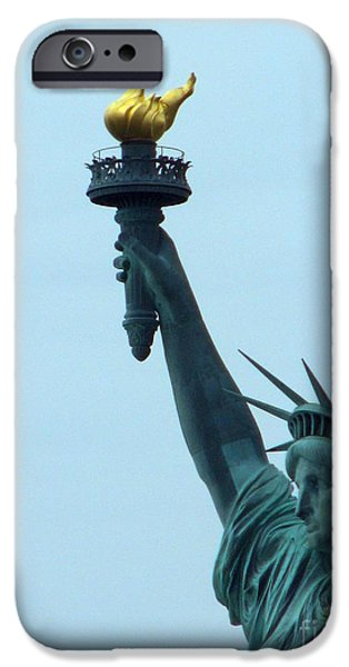 Goddess Of Liberty iPhone Cases - Torch of Freedom iPhone Case by Edna Weber