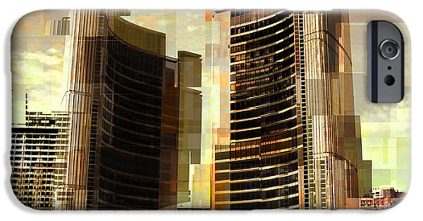 Abstract Digital Art iPhone Cases - Toronto City Hall iPhone Case by Alex Pyro