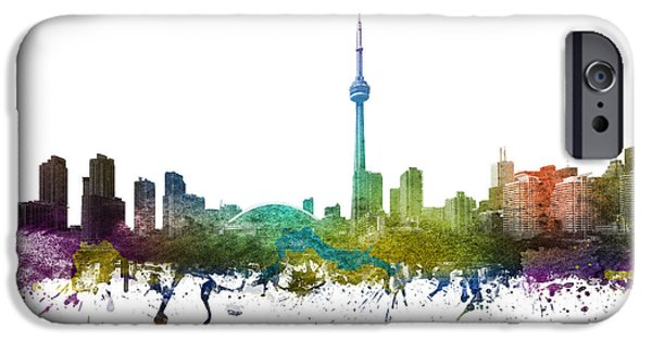 Colour Drawings iPhone Cases - Toronto Cityscape 01 iPhone Case by Aged Pixel