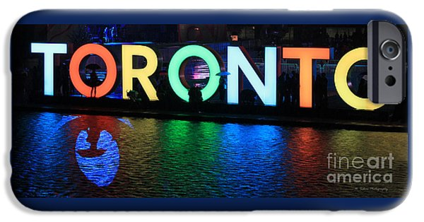Raining iPhone Cases - Toronto Sign with Umbrella Silhouette iPhone Case by Nina Silver