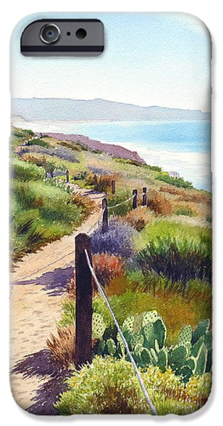 Ocean iPhone Cases - Torrey Pines Guy Fleming Trail iPhone Case by Mary Helmreich
