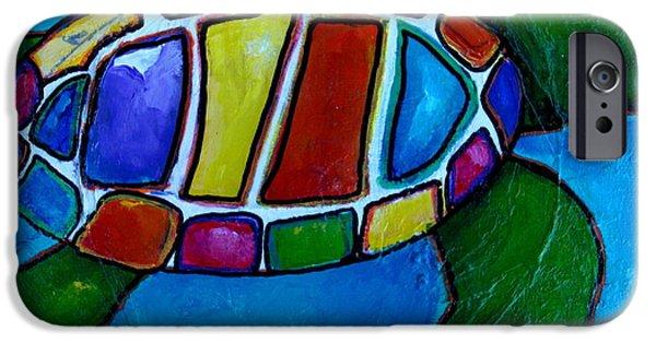 Ocean Turtle Paintings iPhone Cases - Tortuga iPhone Case by Patti Schermerhorn