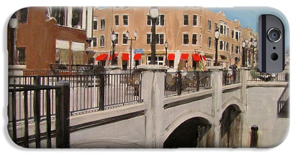 Village Mixed Media iPhone Cases - Tosa Village Bridge iPhone Case by Anita Burgermeister