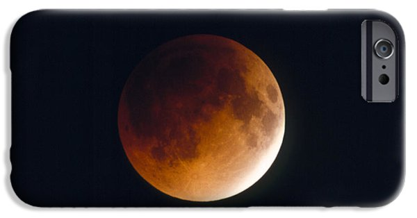Lunar iPhone Cases - Total Lunar Eclipse, Partial Phase iPhone Case by Chris Madeley